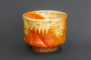 Matcha bowl, red shino